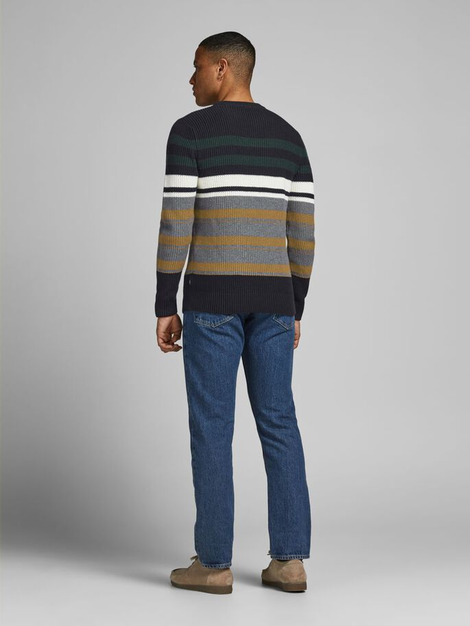 STRIPED KNITTED PULLOVER, Darkest Spruce, large