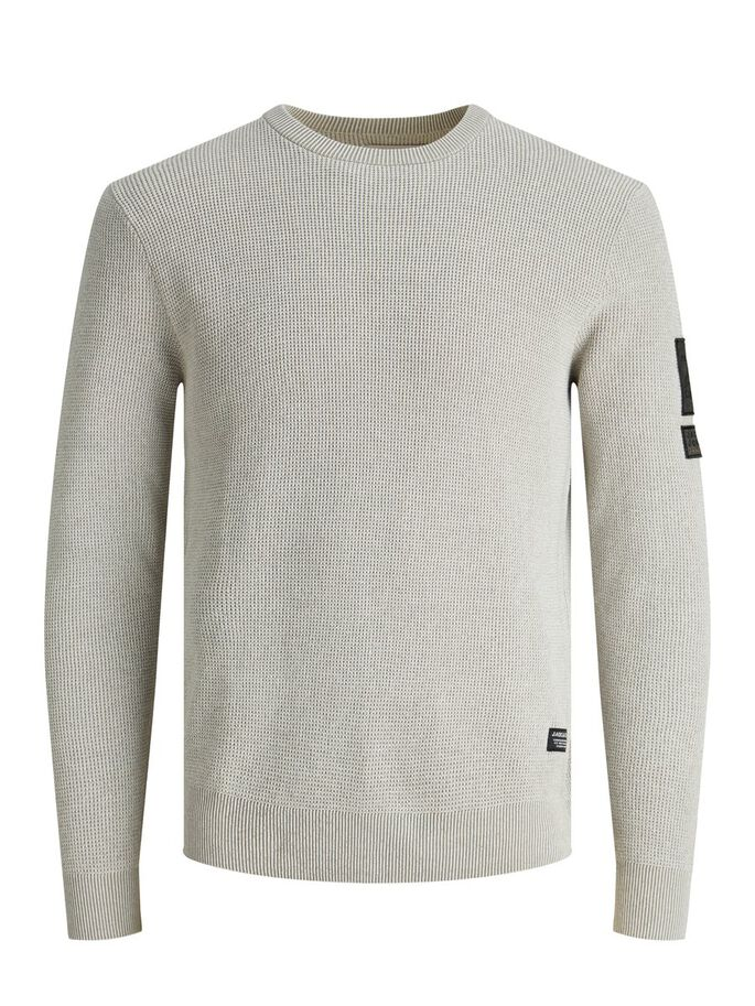 LOGO BADGE KNITTED PULLOVER, White, large