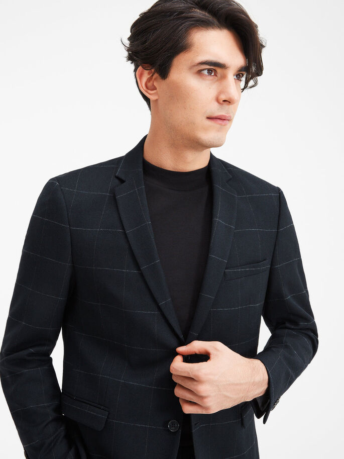 WOOL BLEND WINDOW CHECK BLAZER, Dark Navy, large