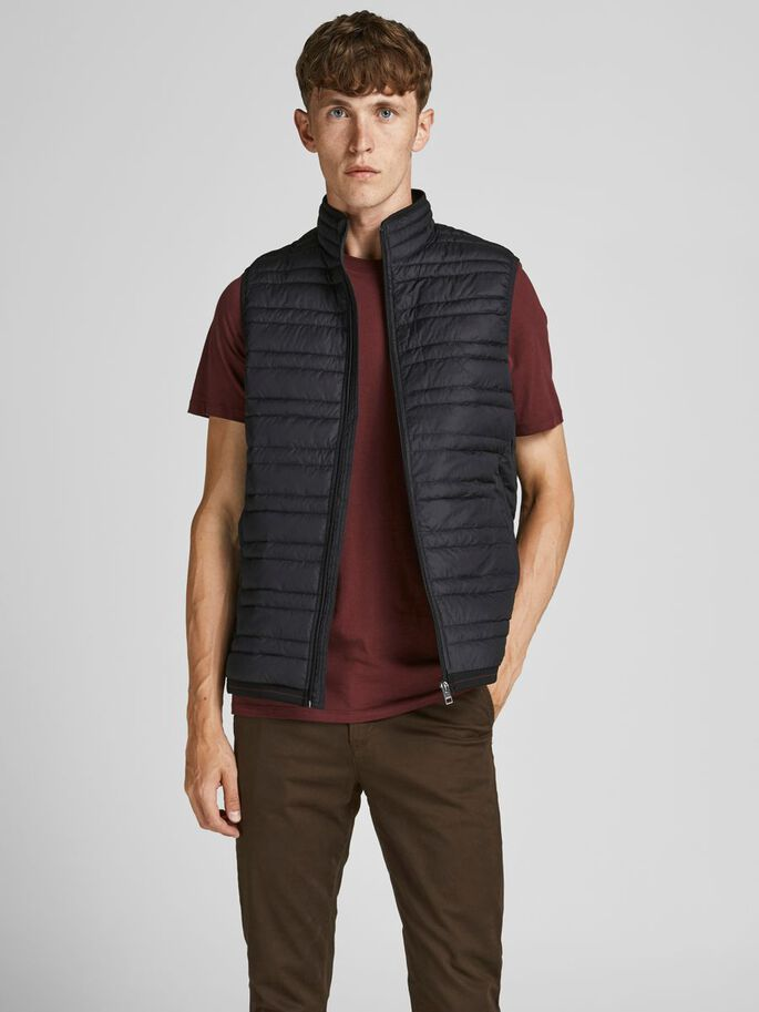 RECYCLED POLYESTER GILET, Black, large