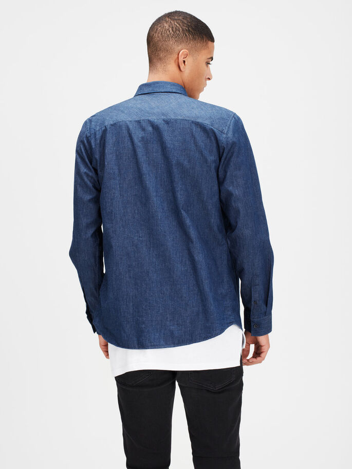 KLASSISCHES LANGARMHEMD, Dark Blue Denim, large