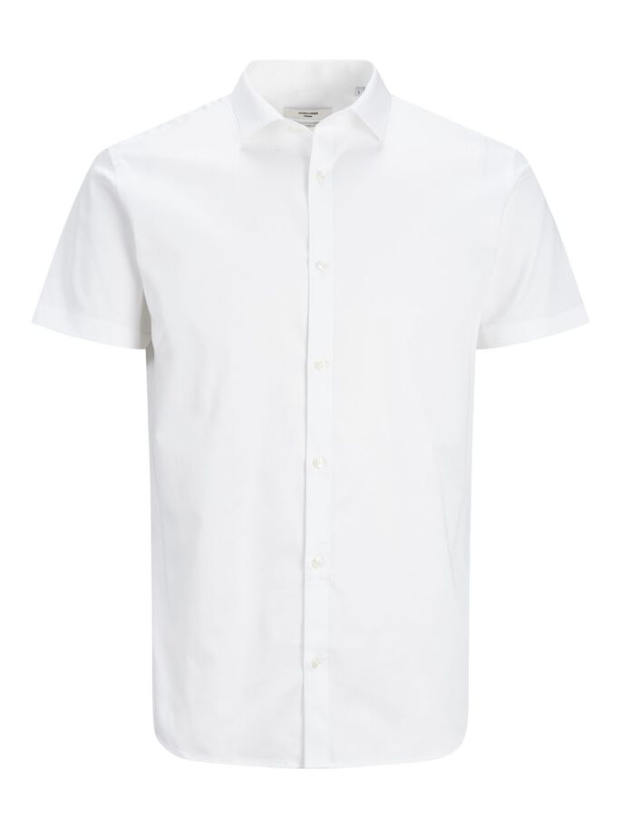 SLIM FIT SOLID SHORT SLEEVED SHIRT, White, large