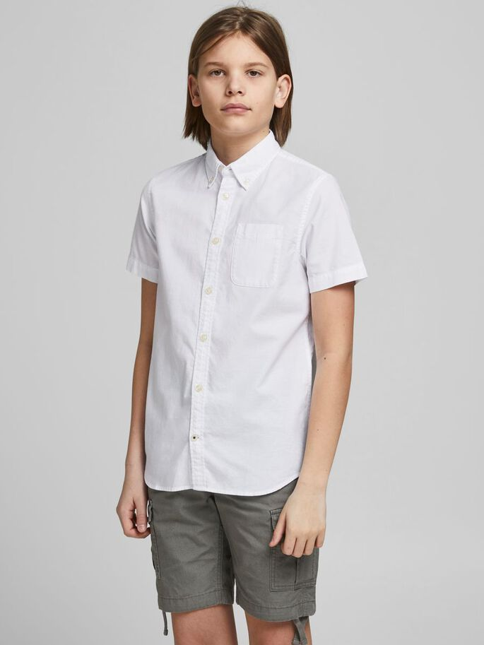 BOYS OXFORD SHORT SLEEVED SHIRT, White, large