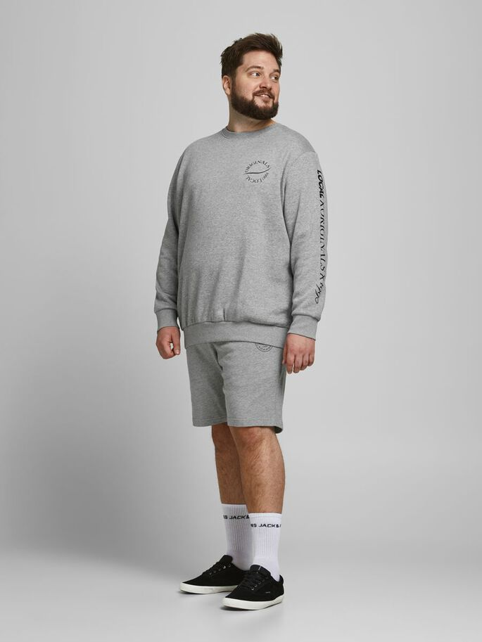FLERE LOGOER PLUS SIZE SWEATSHIRT, Light Grey Melange, large