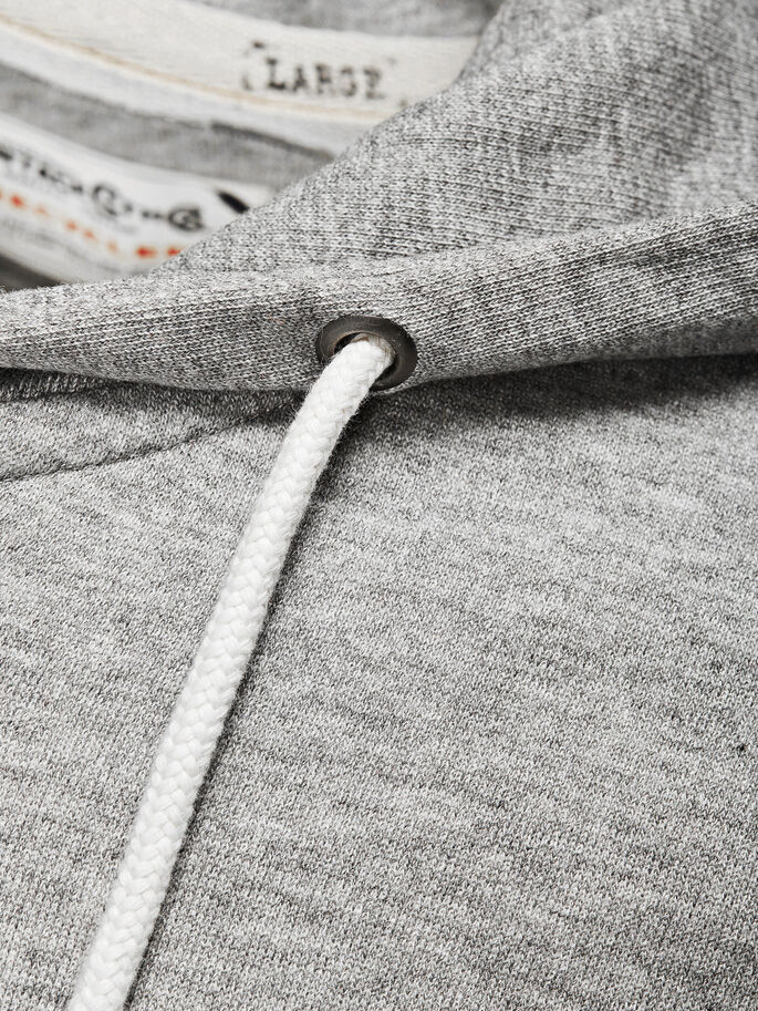 RESIRKULERT MED GLIDELÅS SWEATSHIRT, Light Grey Melange, large