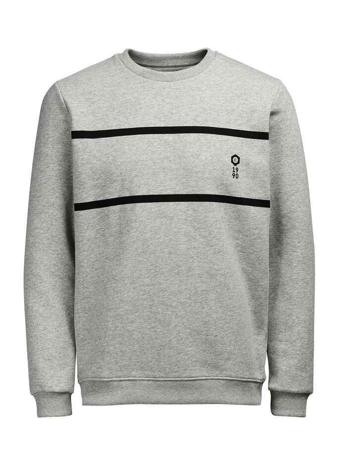 KONTRASTERANDE SWEATSHIRT, Light Grey Melange, large