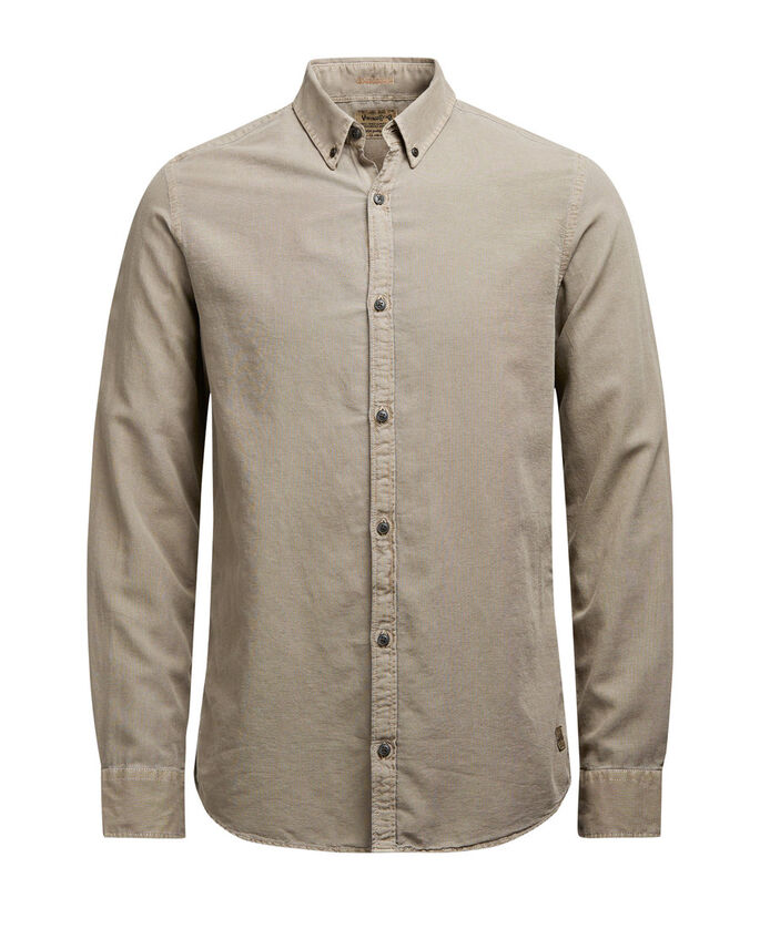 BUTTON-DOWN OXFORD OVERHEMD MET LANGE MOUWEN, Lead Gray, large
