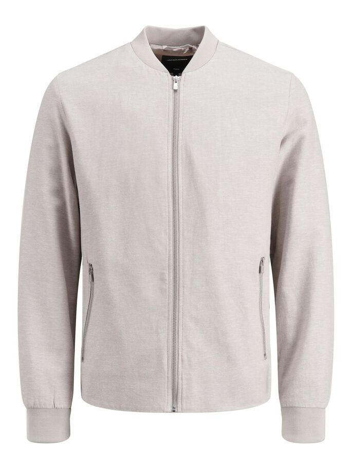 COTTON AND LINEN JACKET, White Pepper, large