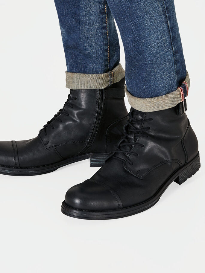 LEATHER BOOTS, Anthracite, large