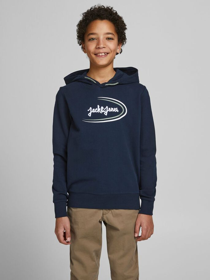 BOYS ORGANIC COTTON LOOPBACK HOODIE, Navy Blazer, large