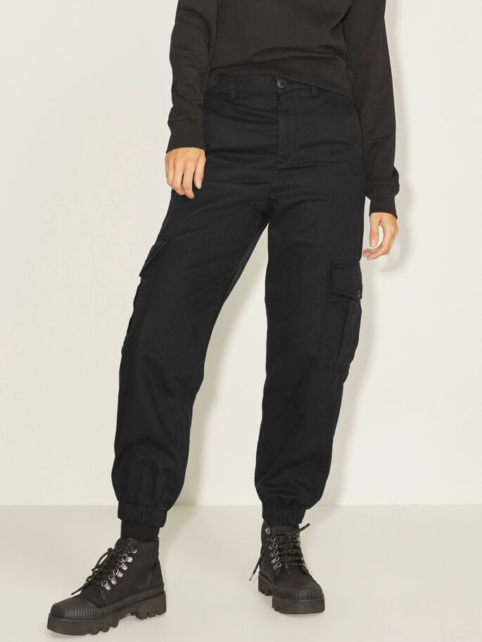 JXHOLLY RELAXED CARGO TROUSERS, Black, large