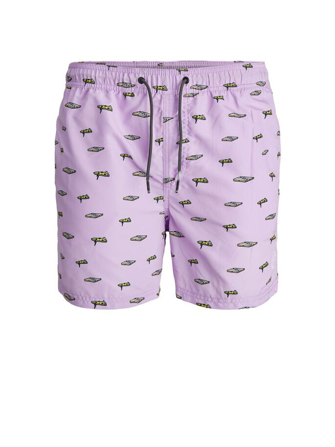 RECYCLED POLYESTER SWIM SHORTS, Lavender, large