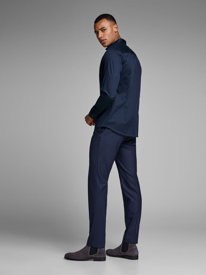 CASUAL SLIM FIT LONG SLEEVED SHIRT, Navy Blazer, large