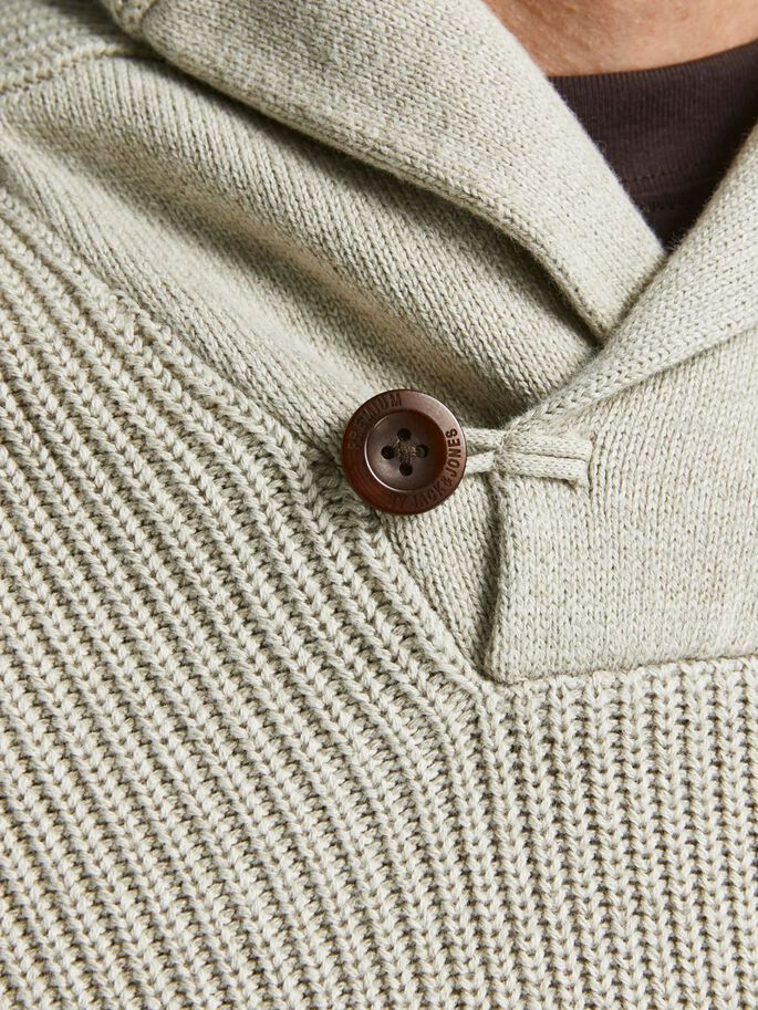 HALF ZIP KNITTED PULLOVER, Oatmeal, large