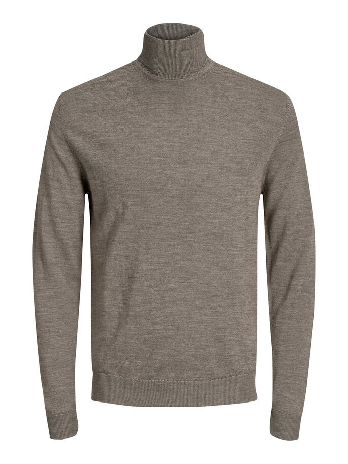 SUPERFIN MERINO-ULD STRIKKET PULLOVER, Oatmeal, large