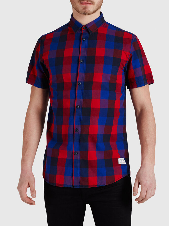 CHECK SHORT SLEEVED SHIRT, Chinese Red, large