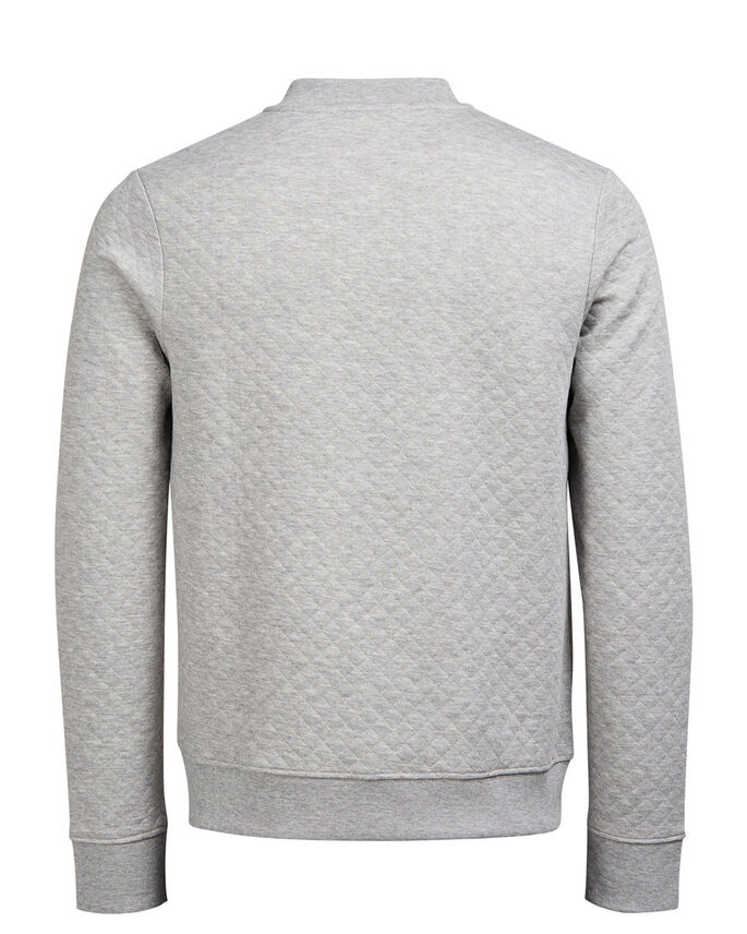 QUILTET BASEBALL SWEATSHIRT MED LYNLÅS, Light Grey Melange, large
