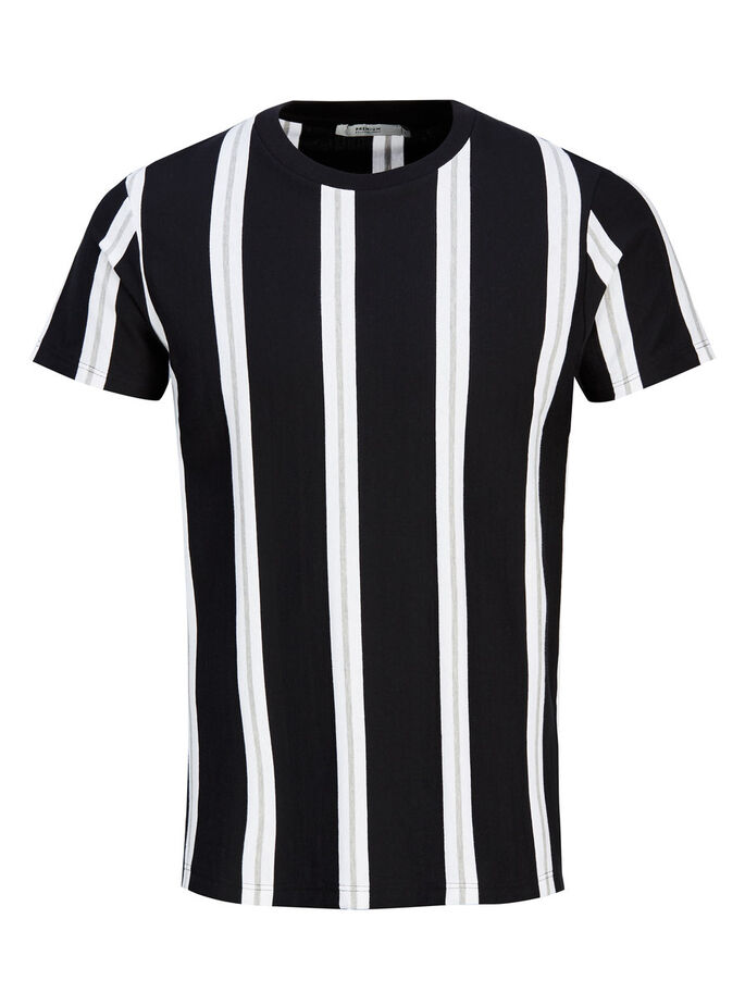 STRIPED T-SHIRT, Black, large