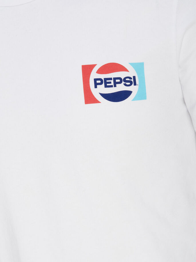 CON ESTAMPADO DE PEPSI CAMISETA DE MANGA LARGA, White, large