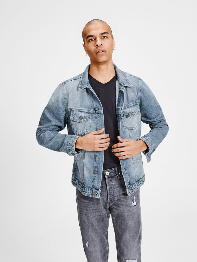 EARL JOS 968 DENIM JACKET, Blue Denim, large