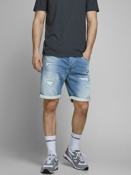 RICK ICON GE 009 INDIGO KNIT SHORTS EN JEAN