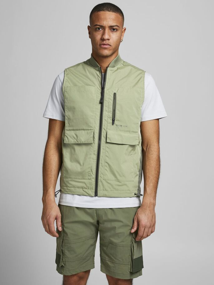 RIB COLLAR GILET, Oil Green, large