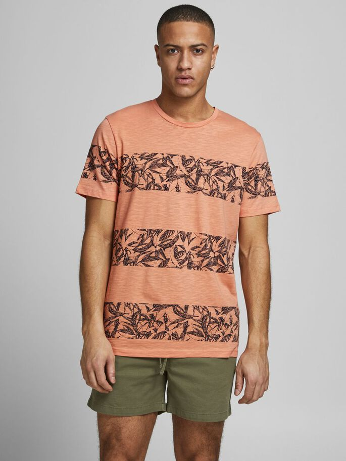 RAYURES LARGES T-SHIRT, Shell Coral, large