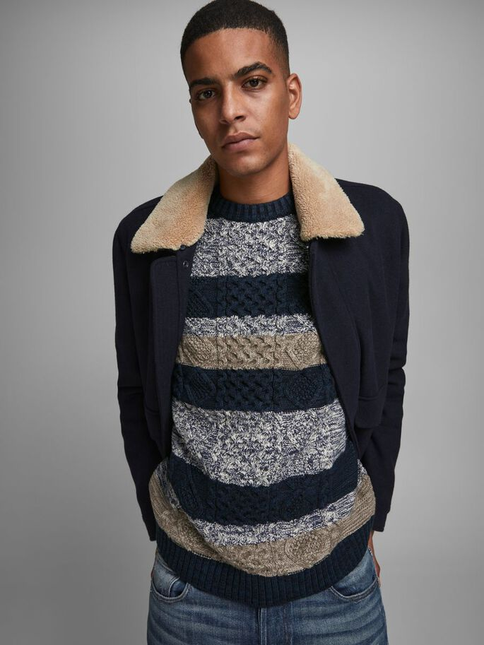 STRIPED KNITTED PULLOVER, Navy Blazer, large